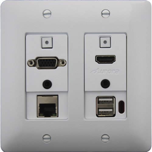 Aurora Multimedia DXW-2EU 2-Gang HDBaseT Wall Plate Transmitter with Ethernet & USB (White)