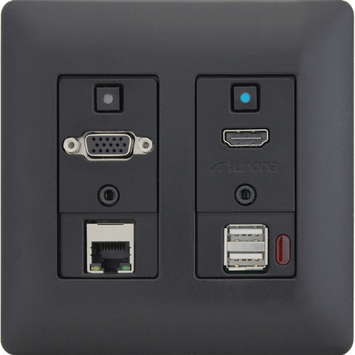 Aurora Multimedia Two-Gang VGA/HDMI/LAN/USB WP HDBaseT Extender Kit with 2x35W Amp (Black)