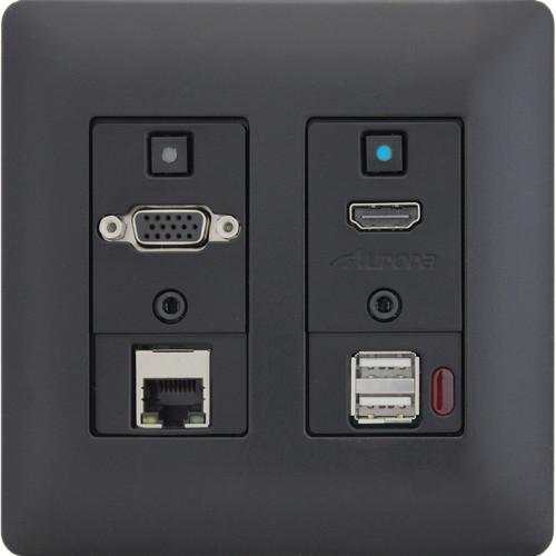 Aurora Multimedia Two-Gang VGA/HDMI/LAN/USB 2.0 HDBaseT WP Extender Kit with Audio (Black)