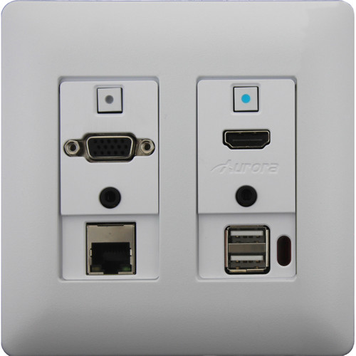 Aurora Multimedia Two-Gang VGA/HDMI/LAN/USB 2.0 HDBaseT WP Extender Kit with Audio (White)