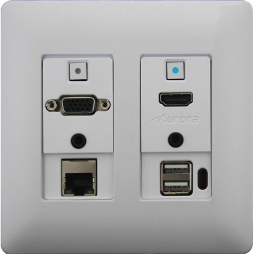 Aurora Multimedia Two-Gang VGA/HDMI/LAN/USB HDBaseT WP Extender Kit with Web Control (White)