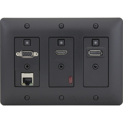 Aurora Multimedia DXW-3E 3-Gang Decora HDBaseT Wall Plate Transmitter with Ethernet (Black)