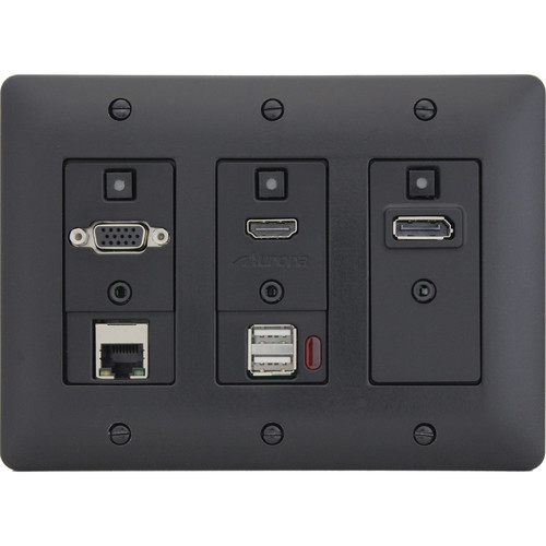 Aurora Multimedia DXW-3EUH 3-Gang Decora HDBaseT Wall Plate Transmitter with Ethernet & USB (Black)