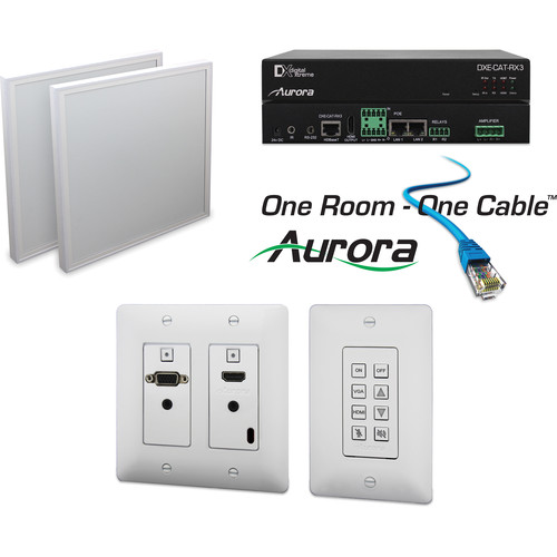 Aurora Multimedia DXW-2-B Transmitter & DXE-CAT-RX3-A Extender One Room-One Cable Kit