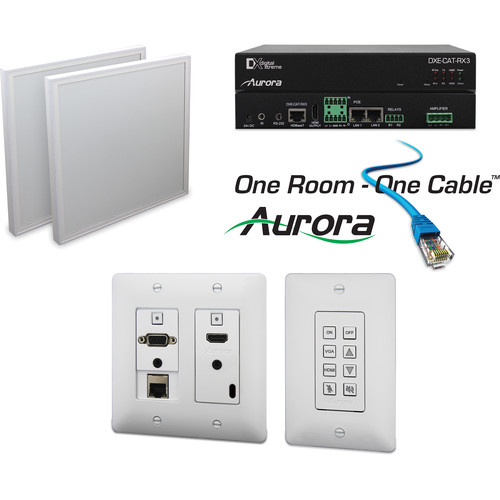 Aurora Multimedia DXW-2E-B Transmitter with Ethernet & DXE-CAT-RX3-A Extender One Room-One Cable Kit