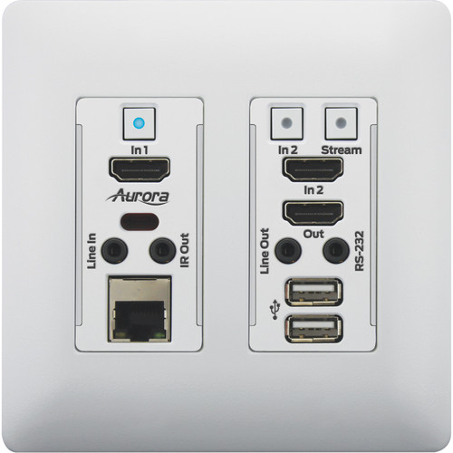 Aurora Multimedia 4K IP Audio/Video Distribution Wall Plate with Two HDMI Ports (White)