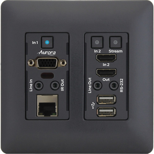 Aurora Multimedia 4K IP Audio/Video Distribution Wall Plate with One VGA and One HDMI Port (Black)