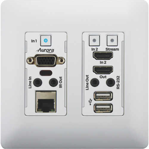 Aurora Multimedia 4K IP Audio/Video Distribution Wall Plate with One VGA and One HDMI Port (White)