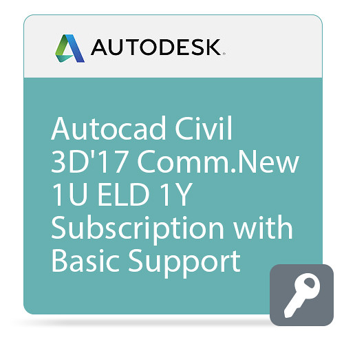 Autodesk AutoCAD Civil 3D 2017 Commercial New Single-user ELD Annual Subscription - Basic Support
