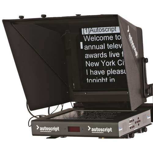 """Autoscript 15"""" High-Bright LED Teleprompter with Molded Hood and HD Mounting Plate"""