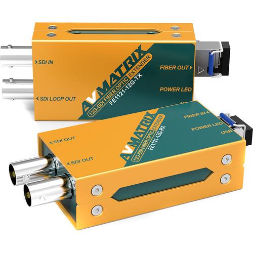 AV Matrix 12G-SDI Fiber Optic Extender Transmitter/Receiver Set