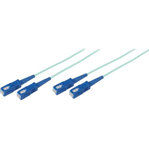 Avenview 50/125µm Fiber Optic Multimode Duplex SC to SC 10Gb OM3 Cable (330', Aqua)