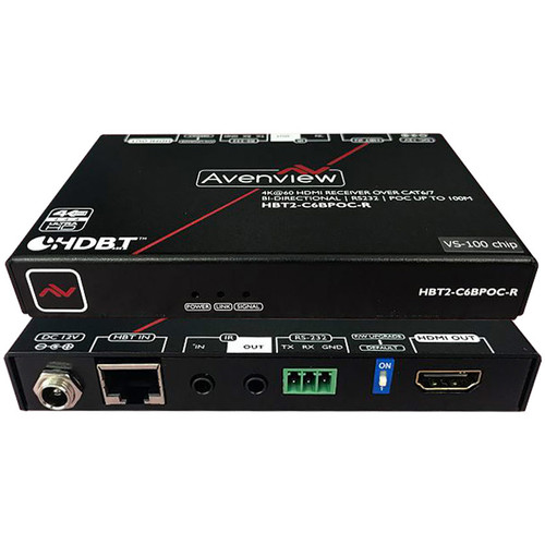 Avenview 4K HDMI HDR HDBaseT Receiver with Bidirectional IR / RS-232 / POC (4K 60 Hz, Cat 5/6/7)