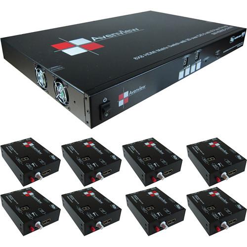 Avenview SW-HDM3D-C5 8 x 8 HDMI Matrix Switcher with 8 Receivers