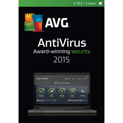 AVG AntiVirus 2015 (3-PCs, 2-Year Subscription, Download)