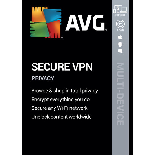 AVG Secure VPN 2020 (1-Year Subscription, 5 Devices, Download)