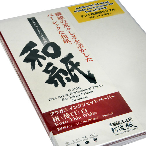 Awagami Factory Kozo Thin White Fine-Art Inkjet Paper (A4, 70 gsm, 20 Sheets)