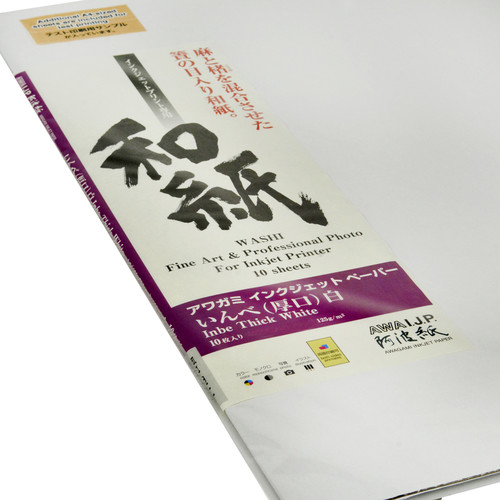 """Awagami Factory Inbe Thick White Inkjet Paper (A1, 23.4 x 33.1"""", 10 Sheets)"""