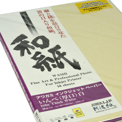 """Awagami Factory Inbe Thick White Inkjet Paper (A3, 11.7 x 16.5"""", 10 Sheets)"""