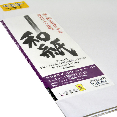 "Awagami Factory Inbe Extra Thick White Inkjet Paper (A2, 16.5 x 23.4"", 10 Sheets)"
