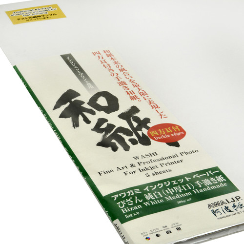 "Awagami Factory Bizan Medium White Handmade Paper (A1, 23.4 x 33.1"", 5 Sheets)"
