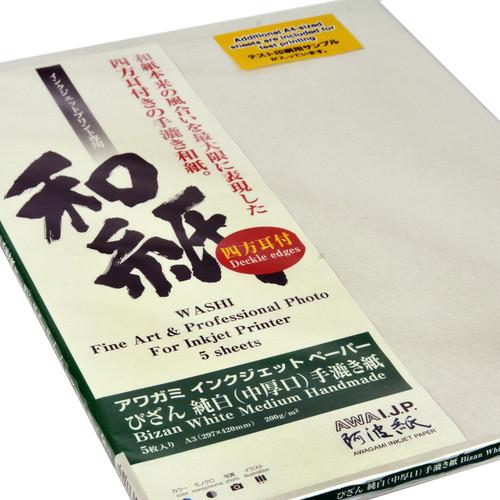 Awagami Factory Bizan Handmade 200 gsm Fine-Art Inkjet Paper (A3, White, 5 Sheet)