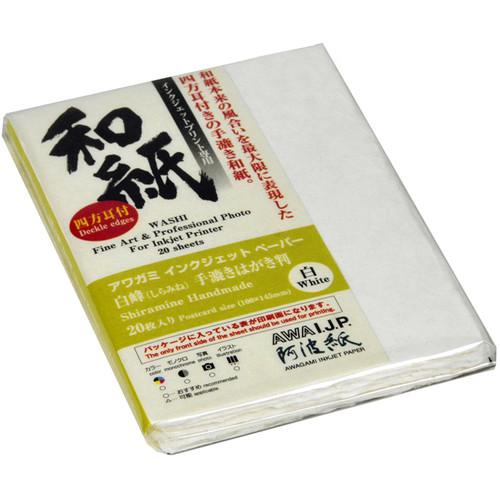 Awagami Factory Shiramine Deckle-Edge 260-gsm Postcard (20-Sheet Pack)