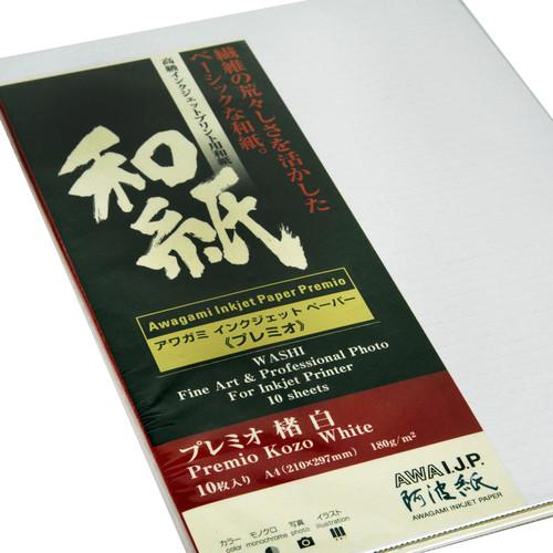 Awagami Factory Premio Kozo White Fine-Art Inkjet Paper (A4, 10-Sheets)