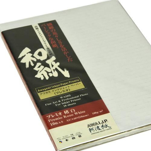Awagami Factory Premio Kozo White Fine-Art Inkjet Paper (A5, 10-Sheets)