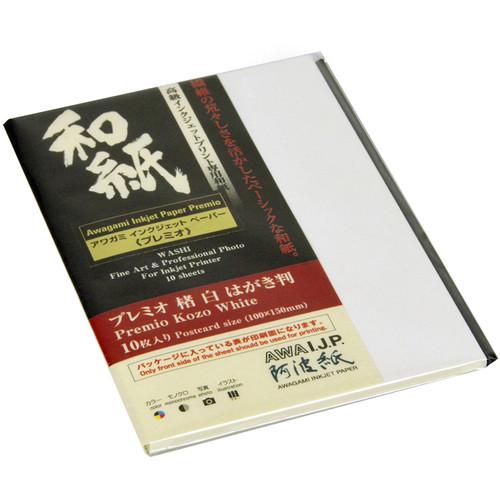 """Awagami Factory Premio Kozo White Fine-Art Inkjet Paper (3.9 x 5.9"""", 10-Sheets)"""