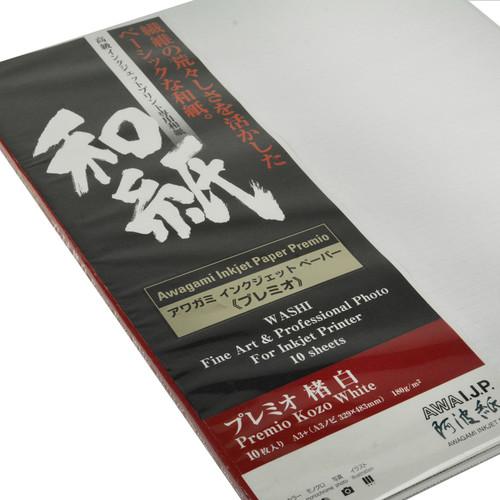Awagami Factory Premio Kozo White Fine-Art Inkjet Paper (A3+, 10-Sheets)