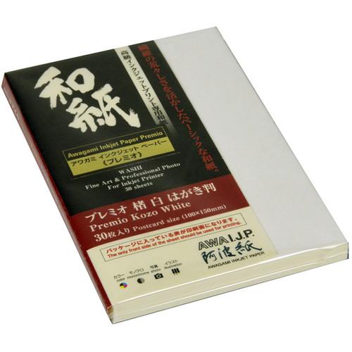 """Awagami Factory Premio Kozo White Fine-Art Inkjet Paper (3.9 x 5.9"""", 30-Sheets)"""