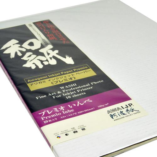 Awagami Factory Premio Inbe White Fine-Art Inkjet Paper (A3+, 10-Sheets)