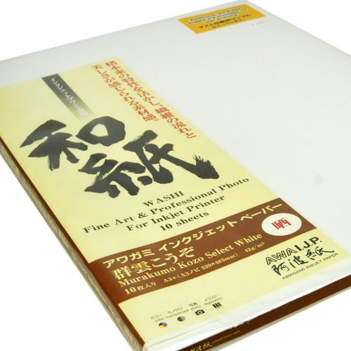"Awagami Factory Murakumo Kozo Select White Fine Art Inkjet Paper (A3+, 13 x 19"", 10 Sheets)"