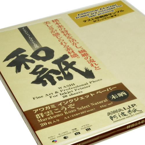 """Awagami Factory Murakumo Kozo Select Natural Paper (A4, 8.3 x 11.7"""", 20 Sheets)"""