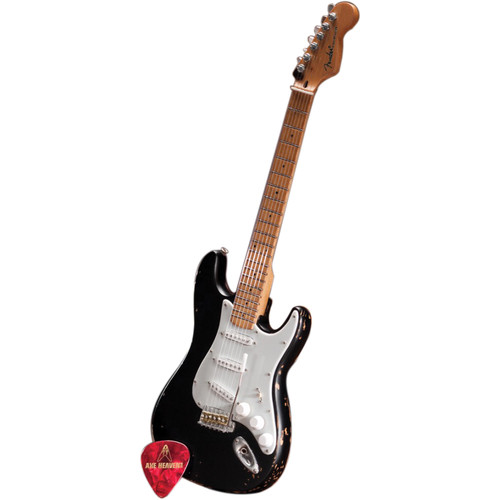 AXE HEAVEN Miniature Vintage Distressed Fender Stratocaster Guitar Replica (Black)