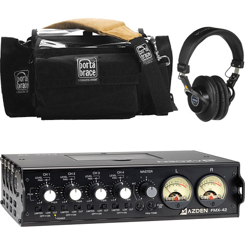 Azden FMX-42 4-Channel Field Mixer with VU Meter and Carrying Case