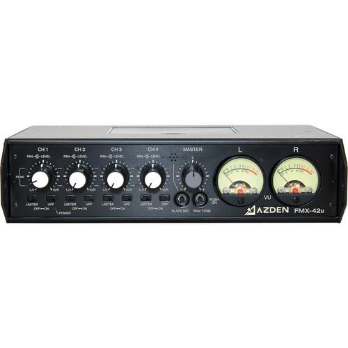 Azden FMX-42u 4-Channel Microphone Field Mixer with USB Digital Audio Output