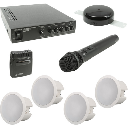 Azden Infrared Wireless Microphone and Ceiling Mounted Speaker System for Classrooms (V2)