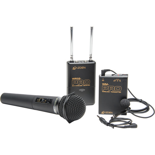 Azden WDM-PRO Dual-Channel VHF Camera-Mount Wireless Omni Lavalier and Cardioid Handheld Microphone System (169 & 170 MHz)