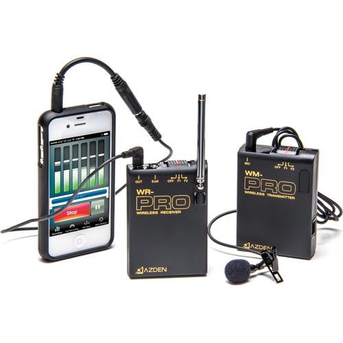 Azden WLX-PRO+i VHF Camera-Mount Wireless Omni Lavalier Microphone System for Smartphones (169 & 170 MHz)
