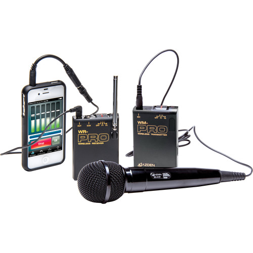Azden WMS-PRO+i VHF Camera-Mount Wireless Omni Lavalier Microphone System with Handheld Mic for Smartphones (169 & 170 MHz)