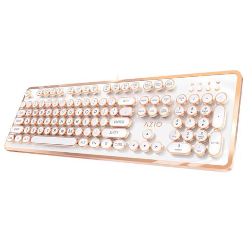 AZIO MK Retro Mechanical Keyboard (White)