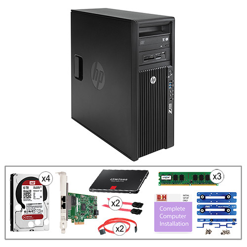 "B&H Photo PC Pro Workstation Kit with Z420 Minitower F1M14UT Workstation, Crucial 4GB DDR3 RAM, HP Gigabit Network Card, WD 6TB 3.5"" NAS HDD, Samsung 256GB 2.5"" SSD, OWC Multi-Mount Bracket Set, C2G 7-pin SATA Cable, Pearstone 7-pin SATA Cable, & Installation Service"