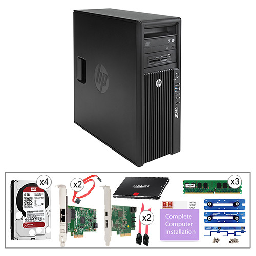 "B&H Photo PC Pro Workstation Kit with Z420 Minitower F1M14UT Workstation, Crucial 4GB DIMM DDR3 RAM, HP Gigabit Network Card, HP Thunderbolt 2 I/O Card, WD 6TB 3.5"" NAS HDD, Samsung 256GB 2.5"" SSD, OWC Multi-Mount Bracket Set, C2G 7-pin SATA Cable, Pearstone 7-pin SATA Cable, & Installation Service"