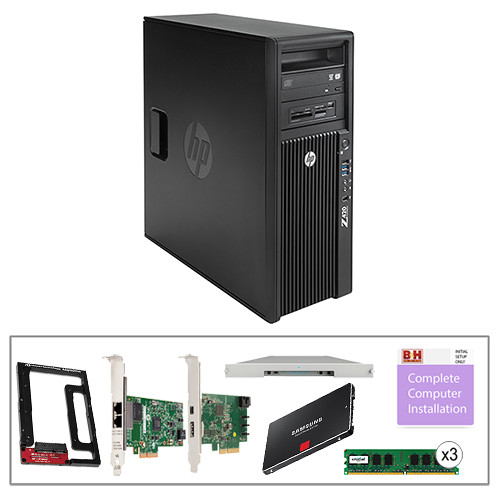 "B&H Photo PC Pro Workstation Kit with Z420 Minitower F1M14UT Workstation, LaCie 24TB 8big Thunderbolt 2 RAID, Crucial 12GB (3 x 4GB) DIMM DDR3 RAM, HP Gigabit Network Card, HP Thunderbolt 2 I/O Card, Samsung 256GB 2.5"" SSD, Newer Technology AdaptaDrive 2.5"" to 3.5"" Drive Converter Bracket, & Installation Service"