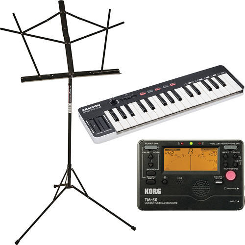 B&H Photo Video 32-Key MIDI Controller with Music Stand and Tuner/Metronome Bundle