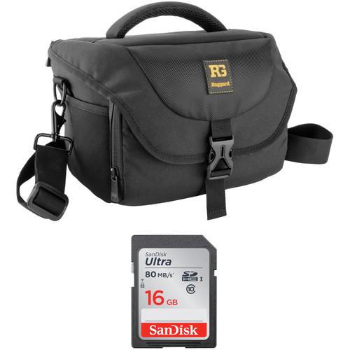 B&H Photo Video Ruggard Commando 36 DSLR Shoulder Bag and 16GB SDHC Class 10 UHS-1 Memory Card Kit