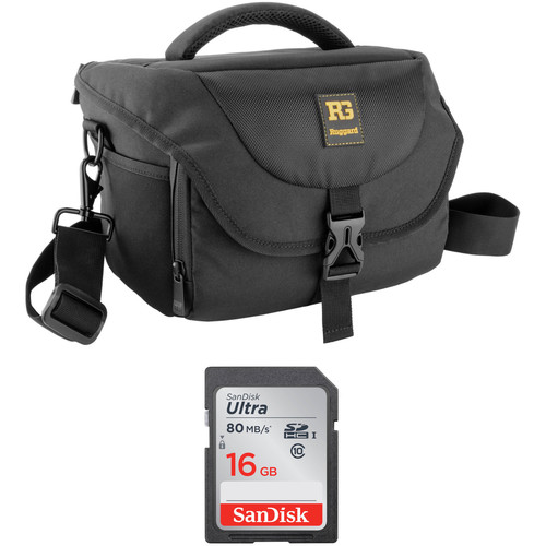 B&H Photo Video Ruggard Commando 36 DSLR Shoulder Bag and 16GB SDHC Class 10 UHS-1 Memory Card Kit