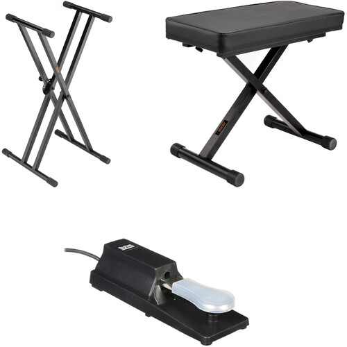 B&H Photo Video Double X-Stand with X-Bench and Piano Sustain Pedal - Keyboard Essentials Kit